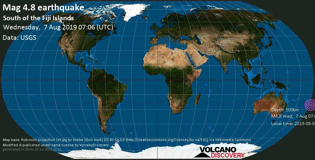 Light mag. 4.8 earthquake  - South of the Fiji Islands on Wednesday, 7 August 2019