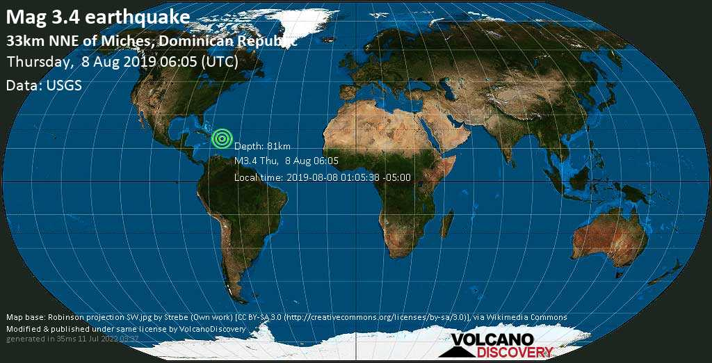 Débil terremoto magnitud 3.4 - 33km NNE of Miches, Dominican Republic jueves, 08 ago. 2019