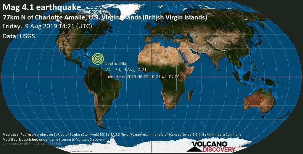 Leve terremoto magnitud 4.1 - 77km N of Charlotte Amalie, U.S. Virgin Islands (British Virgin Islands) viernes, 09 ago. 2019