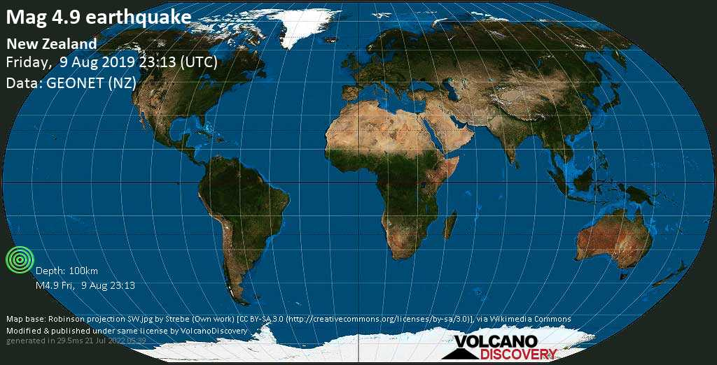 Light mag. 4.9 earthquake  - New Zealand on Friday, 9 August 2019