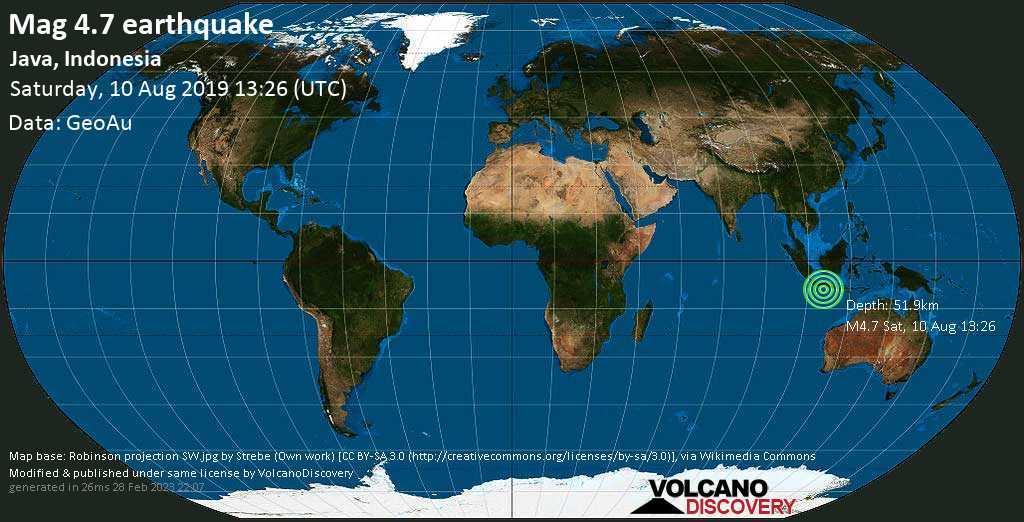 Light mag. 4.7 earthquake  - Java, Indonesia on Saturday, 10 August 2019
