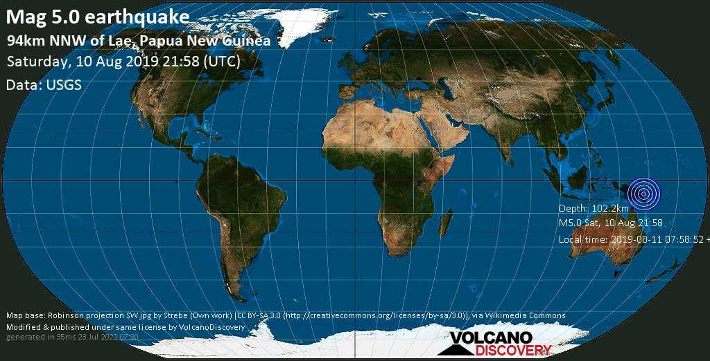 Moderate mag. 5.0 earthquake  - 94km NNW of Lae, Papua New Guinea on Saturday, 10 August 2019