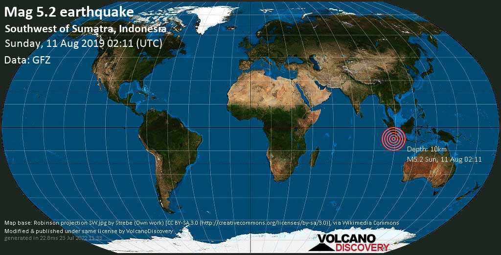 Moderate mag. 5.2 earthquake  - Southwest of Sumatra, Indonesia on Sunday, 11 August 2019