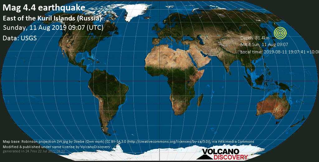 Light mag. 4.4 earthquake  - East of the Kuril Islands (Russia) on Sunday, 11 August 2019