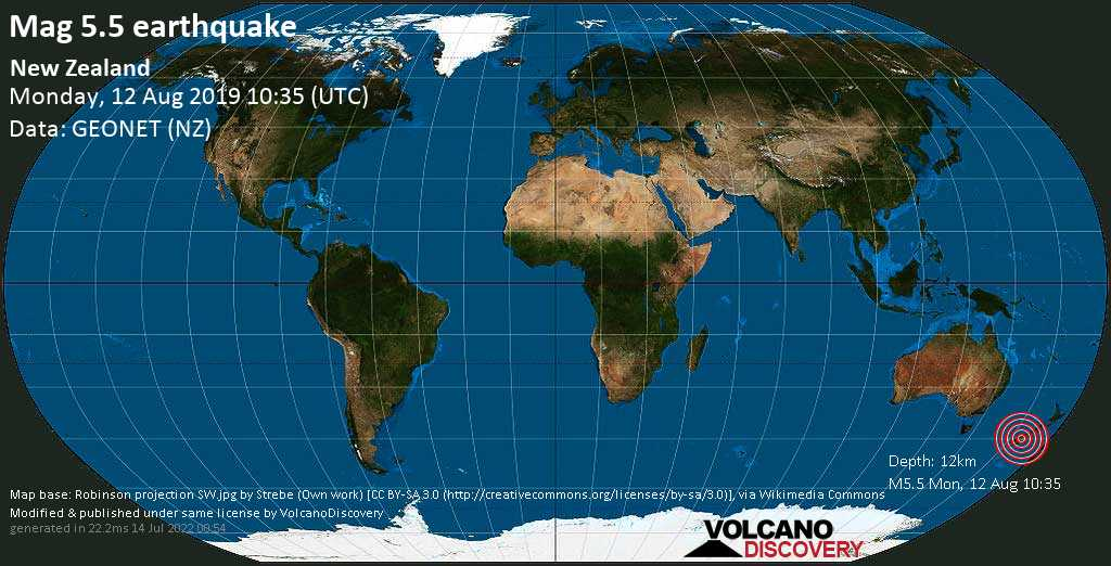 Moderate mag. 5.5 earthquake  - New Zealand on Monday, 12 August 2019