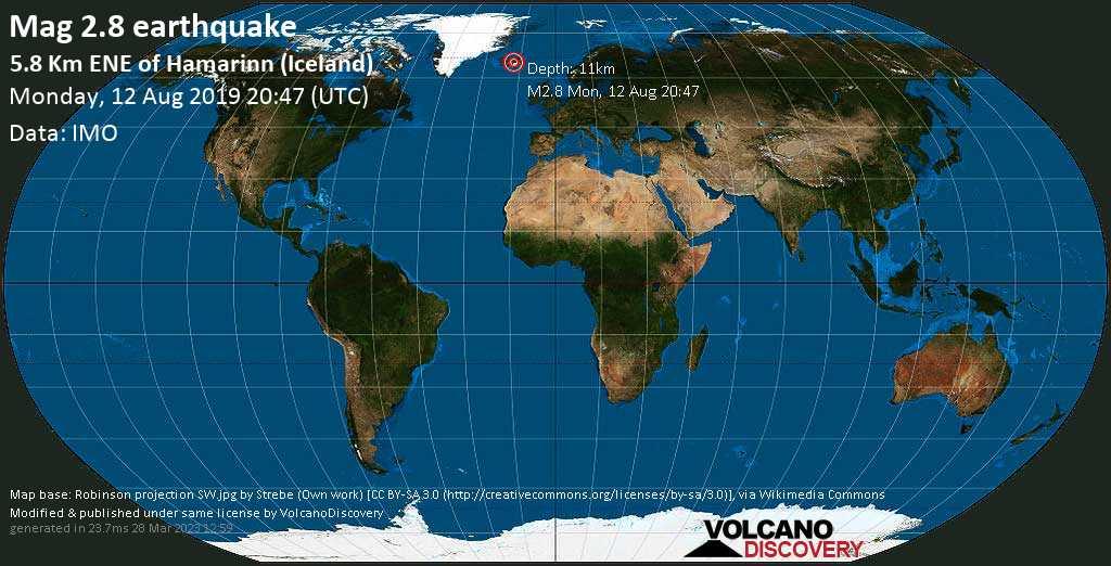 M 2.8 quake: 5.8 km ENE of Hamarinn (Iceland) on Mon, 12 Aug 20h47