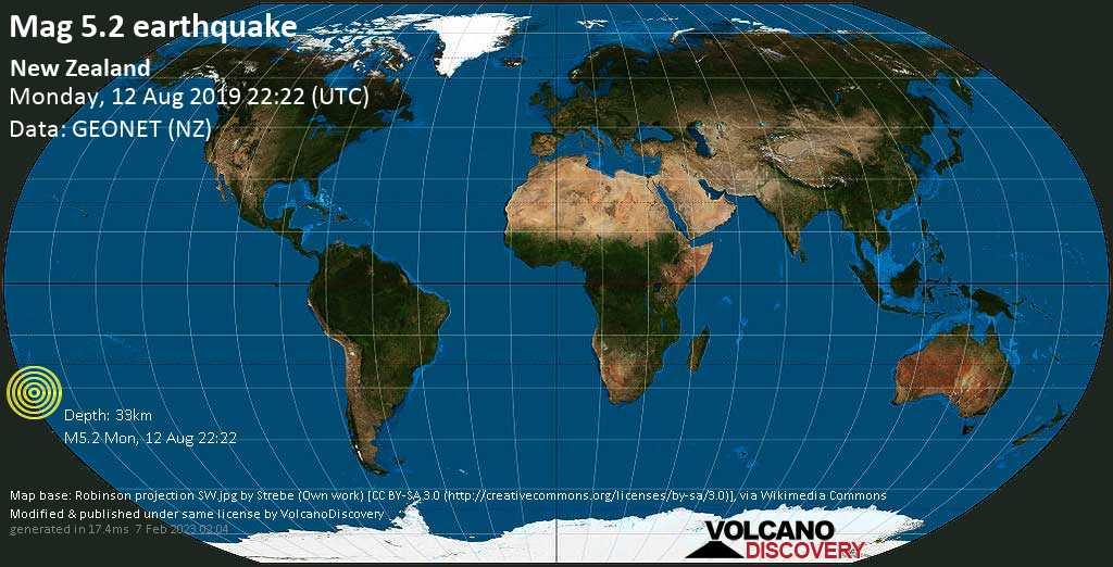 Moderato terremoto magnitudine 5.2 - New Zealand lunedí, 12 agosto 2019