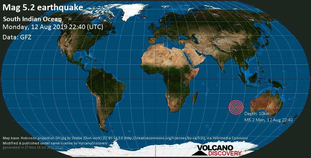Moderato terremoto magnitudine 5.2 - South Indian Ocean lunedí, 12 agosto 2019
