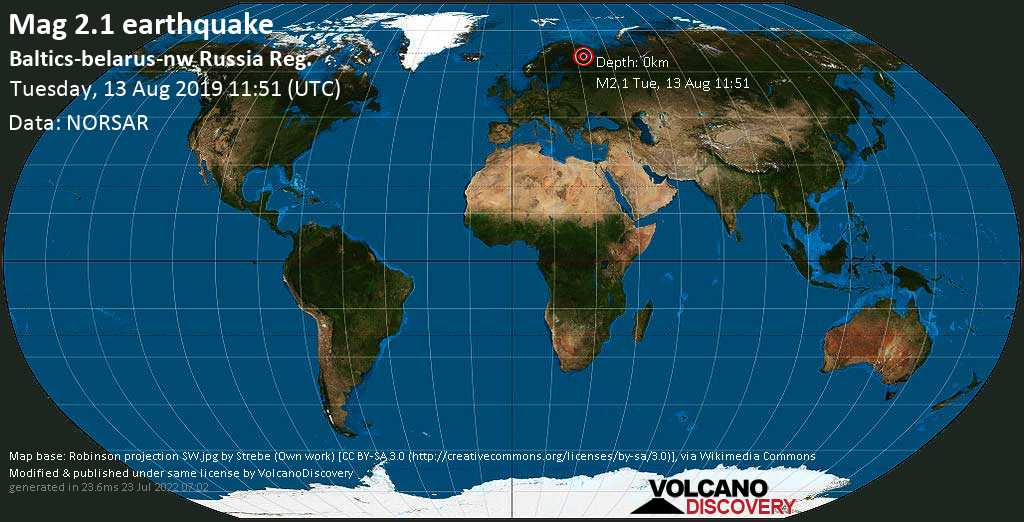Minor mag. 2.1 earthquake  - Baltics-belarus-nw Russia Reg. on Tuesday, 13 August 2019