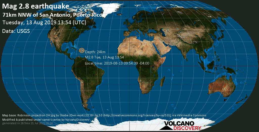 Minor mag. 2.8 earthquake  - 71km NNW of San Antonio, Puerto Rico on Tuesday, 13 August 2019