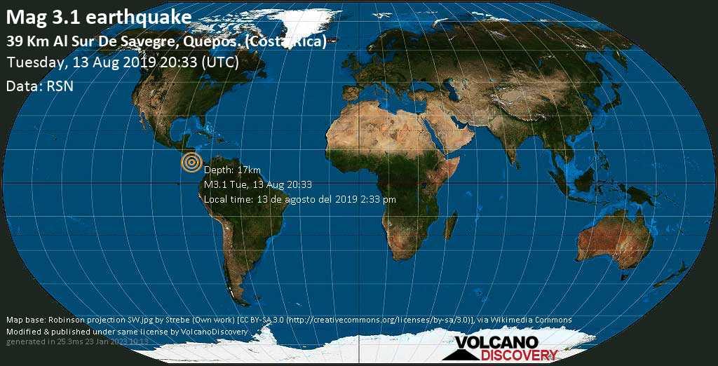 Schwaches Erdbeben der Stärke 3.1 - 39 km al Sur de Savegre, Quepos. (Costa Rica) am Dienstag, 13. Aug. 2019