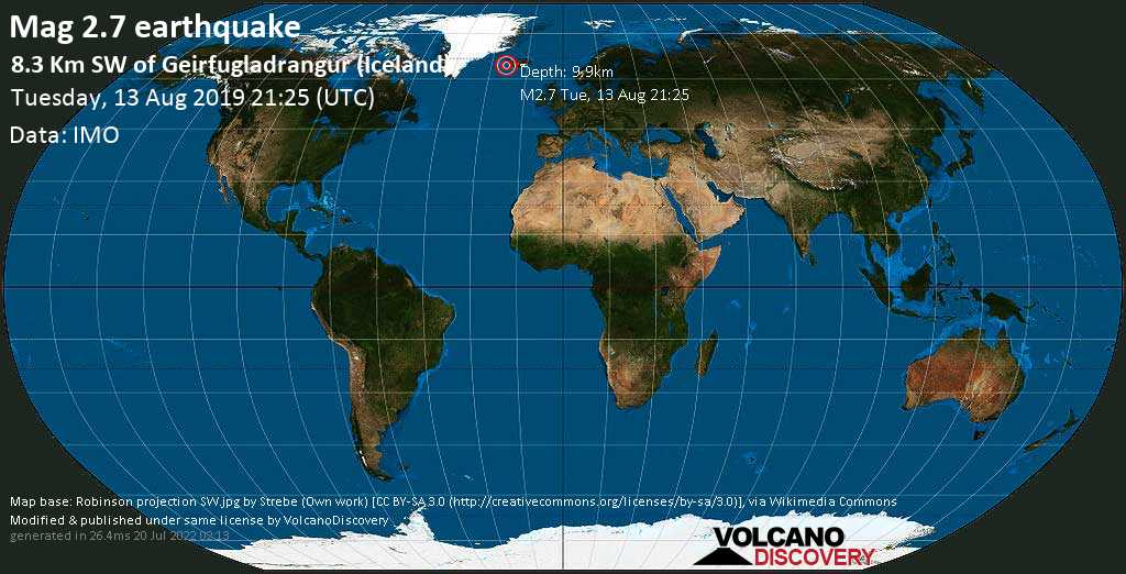 Debile terremoto magnitudine 2.7 - 8.3 km SW of Geirfugladrangur (Iceland) martedí, 13 agosto 2019