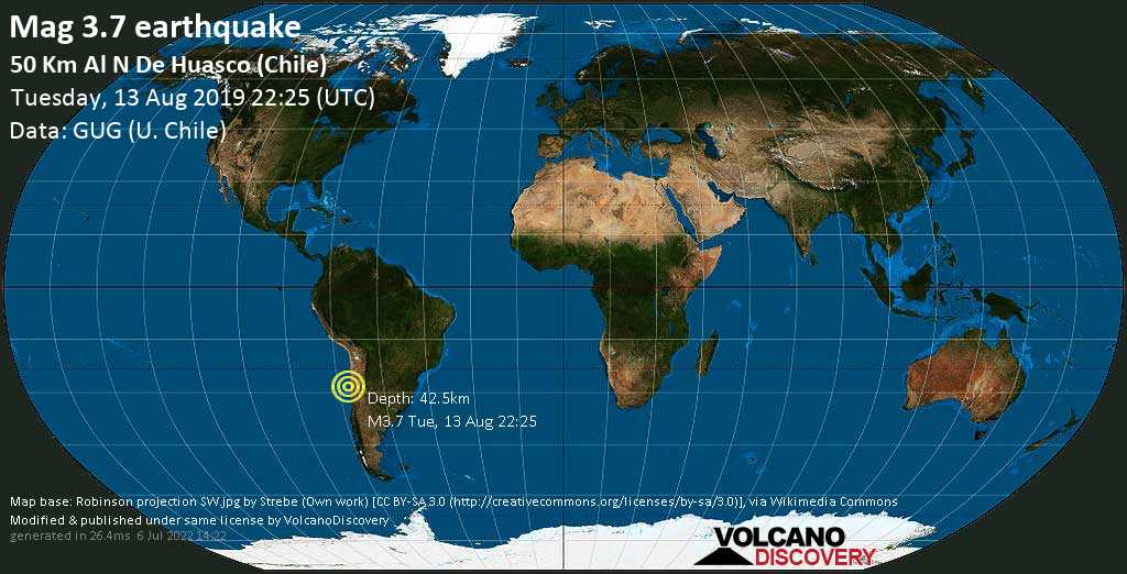 Minor mag. 3.7 earthquake  - 50 km al N de Huasco (Chile) on Tuesday, 13 August 2019