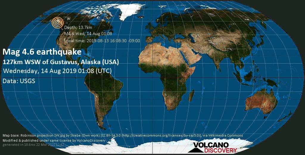Leggero terremoto magnitudine 4.6 - 127km WSW of Gustavus, Alaska (USA) mercoledí, 14 agosto 2019