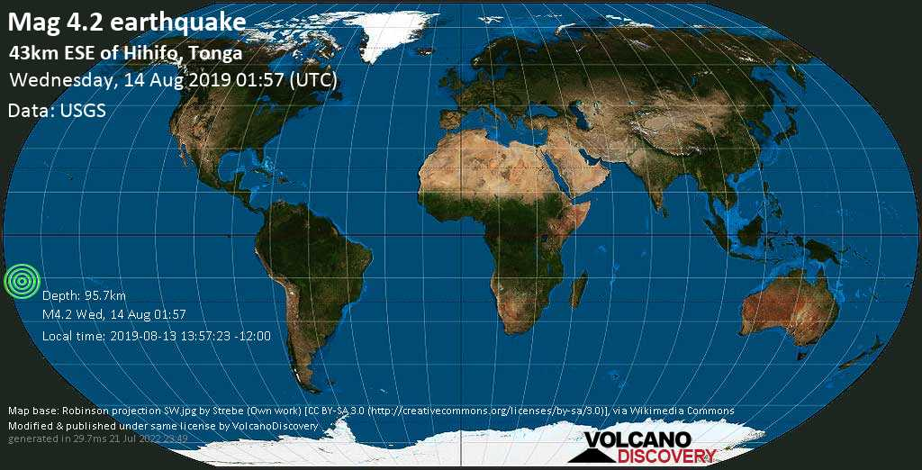 Light mag. 4.2 earthquake  - 43km ESE of Hihifo, Tonga on Wednesday, 14 August 2019