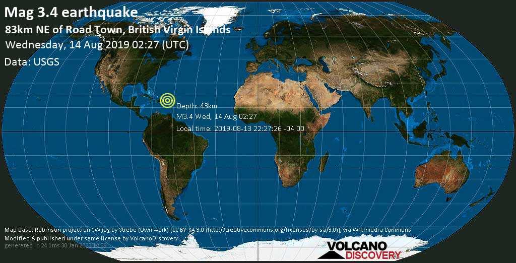Debile terremoto magnitudine 3.4 - 83km NE of Road Town, British Virgin Islands mercoledí, 14 agosto 2019
