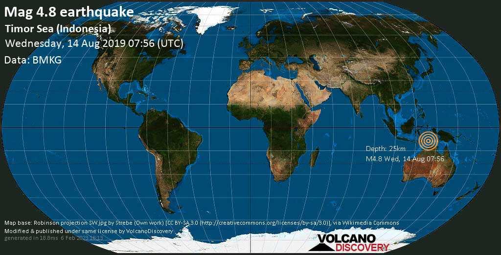 Leichtes Erdbeben der Stärke 4.8 - Timor Sea (Indonesia) am Mittwoch, 14. Aug. 2019