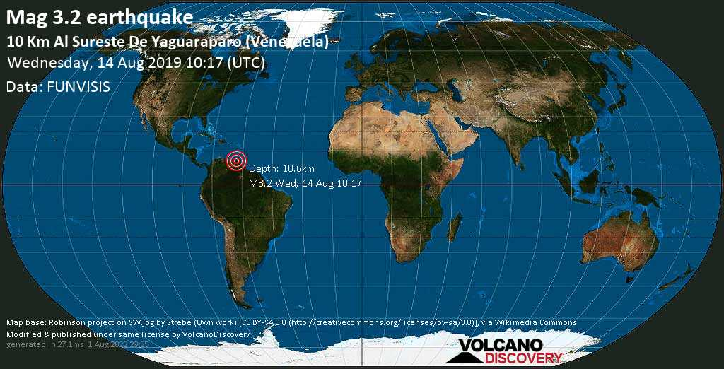 Minor mag. 3.2 earthquake  - 10 Km al sureste de Yaguaraparo (Venezuela) on Wednesday, 14 August 2019