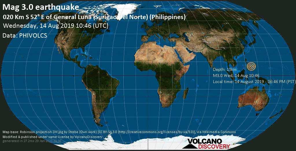 Schwaches Erdbeben der Stärke 3.0 - 020 km S 52° E of General Luna (Surigao Del Norte) (Philippines) am Mittwoch, 14. Aug. 2019