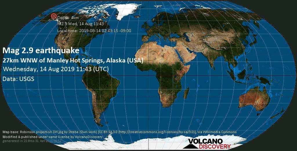 Debile terremoto magnitudine 2.9 - 27km WNW of Manley Hot Springs, Alaska (USA) mercoledí, 14 agosto 2019