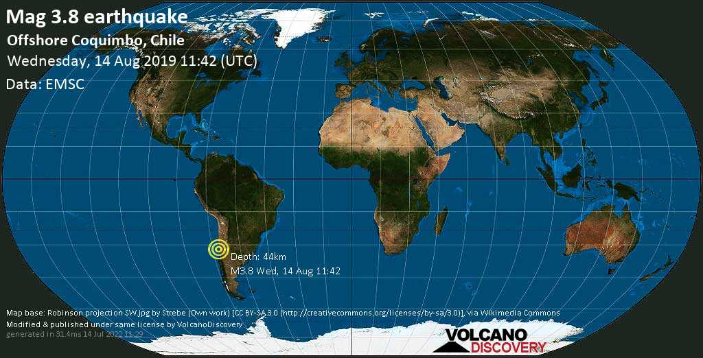 Débil terremoto magnitud 3.8 - Offshore Coquimbo, Chile miércoles, 14 ago. 2019