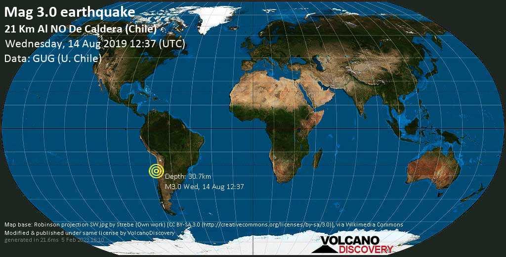 Debile terremoto magnitudine 3.0 - 21 km al NO de Caldera (Chile) mercoledí, 14 agosto 2019