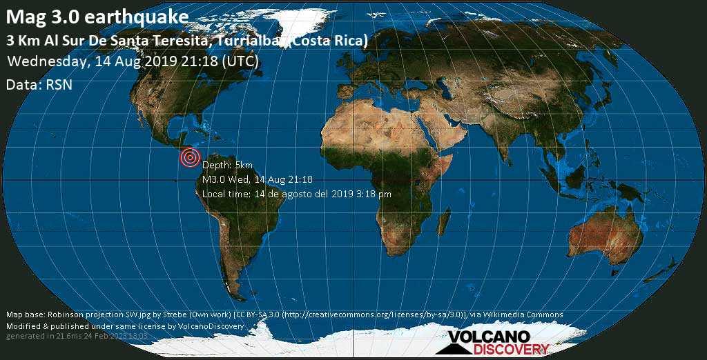 Minor mag. 3.0 earthquake  - 3 km al Sur de Santa Teresita, Turrialba. (Costa Rica) on Wednesday, 14 August 2019