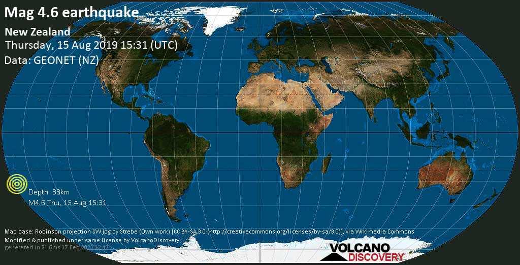 Light mag. 4.6 earthquake  - New Zealand on Thursday, 15 August 2019