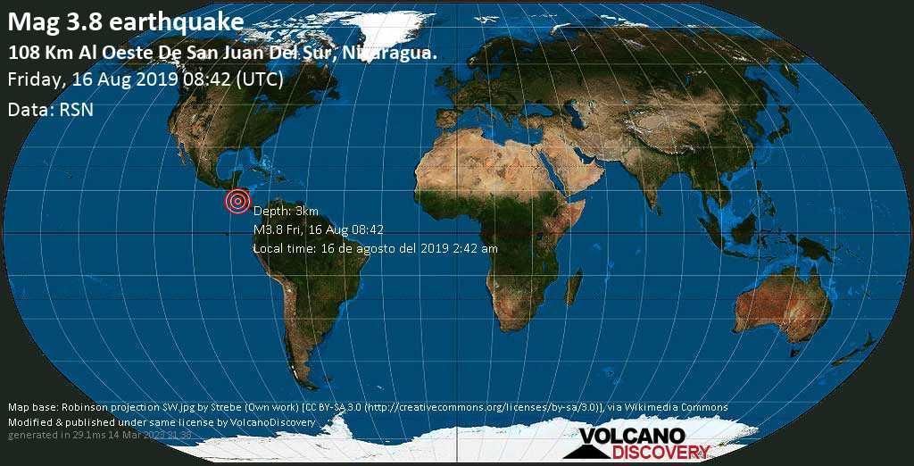 Débil terremoto magnitud 3.8 - 108 km al Oeste de San Juan del Sur, Nicaragua. viernes, 16 ago. 2019