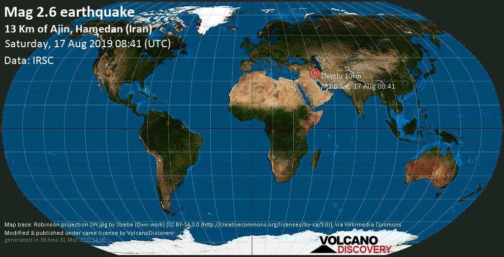 Minor mag. 2.6 earthquake  - 13 km of Ajin, Hamedan (Iran) on Saturday, 17 August 2019