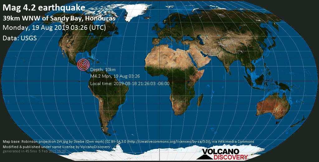 Leve terremoto magnitud 4.2 - 39km WNW of Sandy Bay, Honduras lunes, 19 ago. 2019