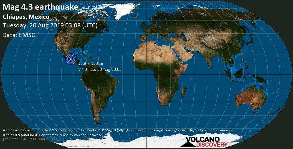 Leve terremoto magnitud 4.3 - Chiapas, Mexico martes, 20 ago. 2019