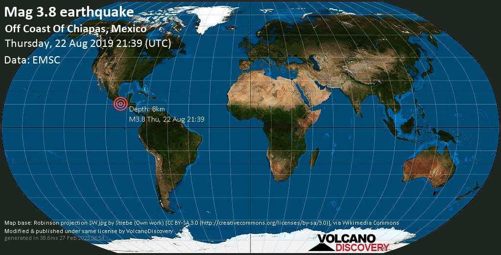 Débil terremoto magnitud 3.8 - Off Coast Of Chiapas, Mexico jueves, 22 ago. 2019