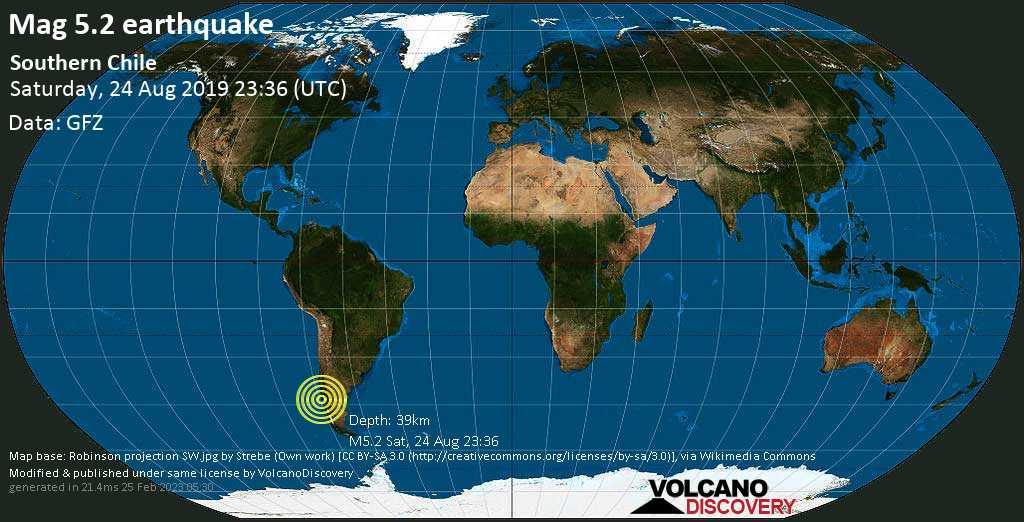 M 5.2 quake: Southern Chile on Sat, 24 Aug 23h36