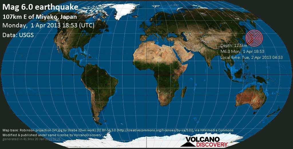 Strong mag. 6.0 earthquake  - 107km E of Miyako, Japan on Monday, 1 April 2013