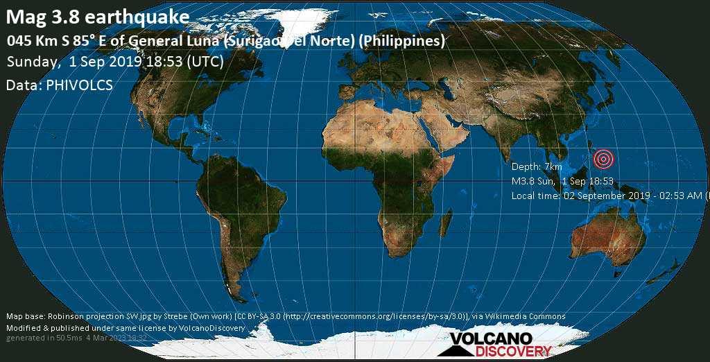 Schwaches Erdbeben der Stärke 3.8 - 045 km S 85° E of General Luna (Surigao Del Norte) (Philippines) am Sonntag, 01. Sep. 2019