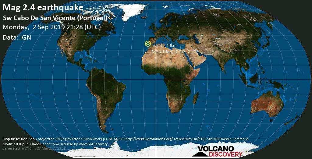 Minor mag. 2.4 earthquake  - Sw Cabo De San Vicente (Portugal) on Monday, 2 September 2019