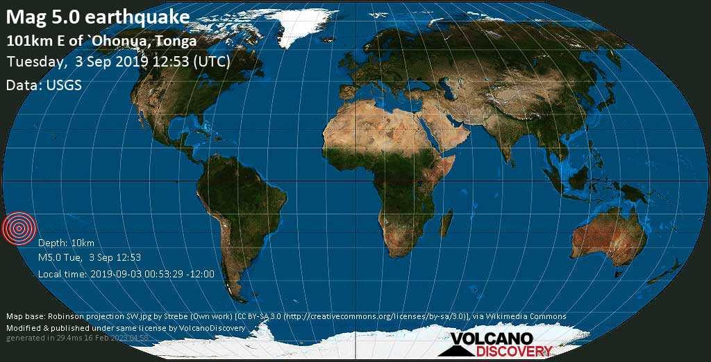 Moderate mag. 5.0 earthquake  - 101km E of `Ohonua, Tonga on Tuesday, 3 September 2019