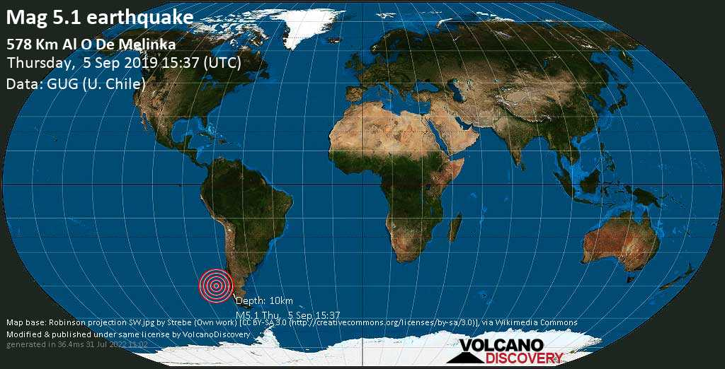 Moderate mag. 5.1 earthquake  - 578 km al O de Melinka on Thursday, 5 September 2019