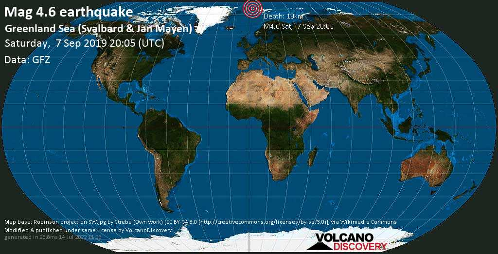 Leve terremoto magnitud 4.6 - Greenland Sea (Svalbard & Jan Mayen) sábado, 07 sep. 2019