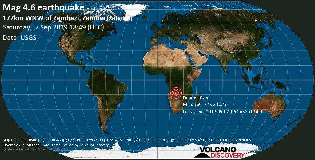 Leve terremoto magnitud 4.6 - 177km WNW of Zambezi, Zambia (Angola) sábado, 07 sep. 2019