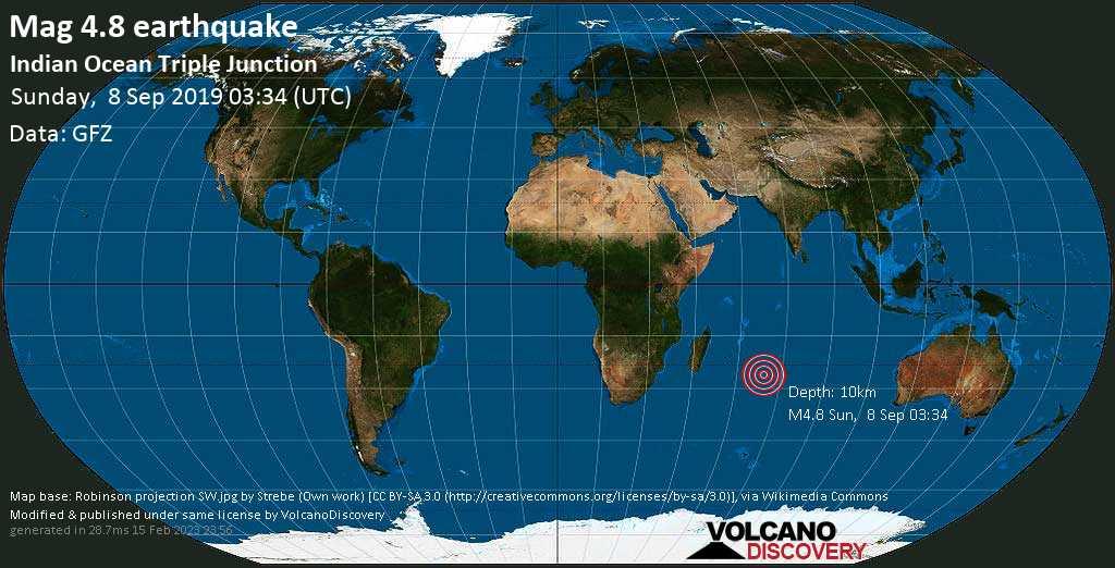 Light mag. 4.8 earthquake  - Indian Ocean Triple Junction on Sunday, 8 September 2019