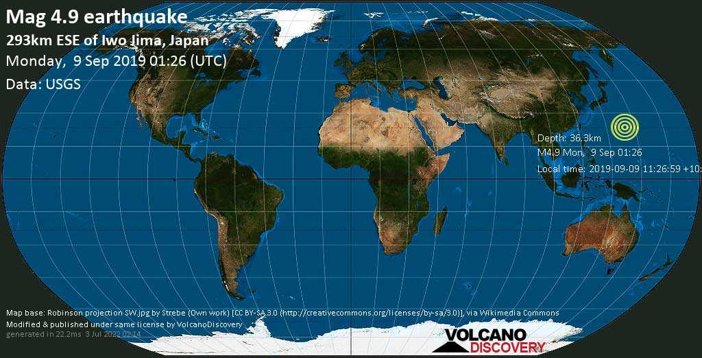 Light mag. 4.9 earthquake  - 293km ESE of Iwo Jima, Japan on Monday, 9 September 2019