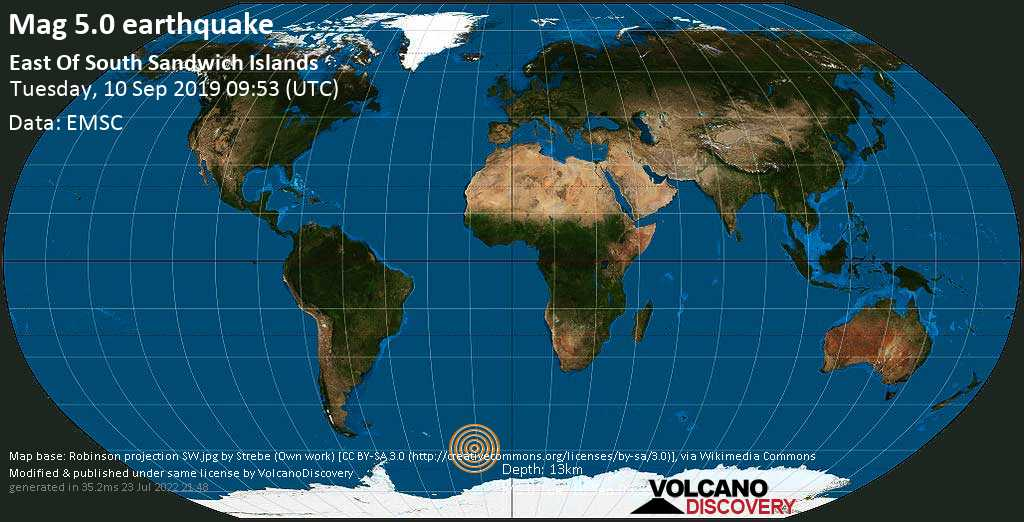 Moderate mag. 5.0 earthquake  - East Of South Sandwich Islands on Tuesday, 10 September 2019