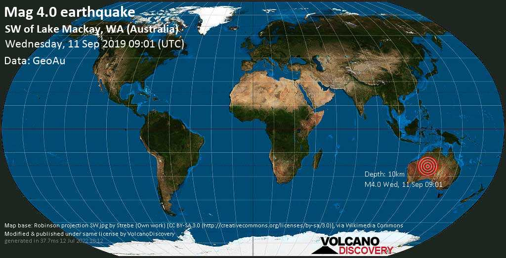 Light mag. 4.0 earthquake  - SW of Lake Mackay, WA (Australia) on Wednesday, 11 September 2019
