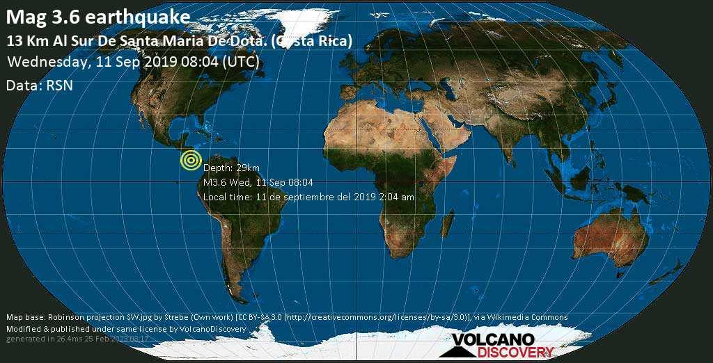 Minor mag. 3.6 earthquake  - 13 km al Sur de Santa Maria de Dota. (Costa Rica) on Wednesday, 11 September 2019