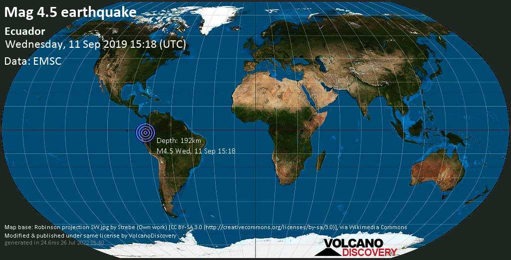 Light mag. 4.5 earthquake  - Ecuador on Wednesday, 11 September 2019