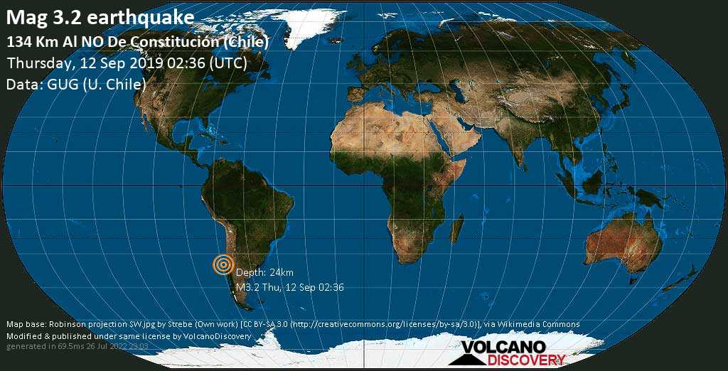 Minor mag. 3.2 earthquake  - 134 km al NO de Constitución (Chile) on Thursday, 12 September 2019