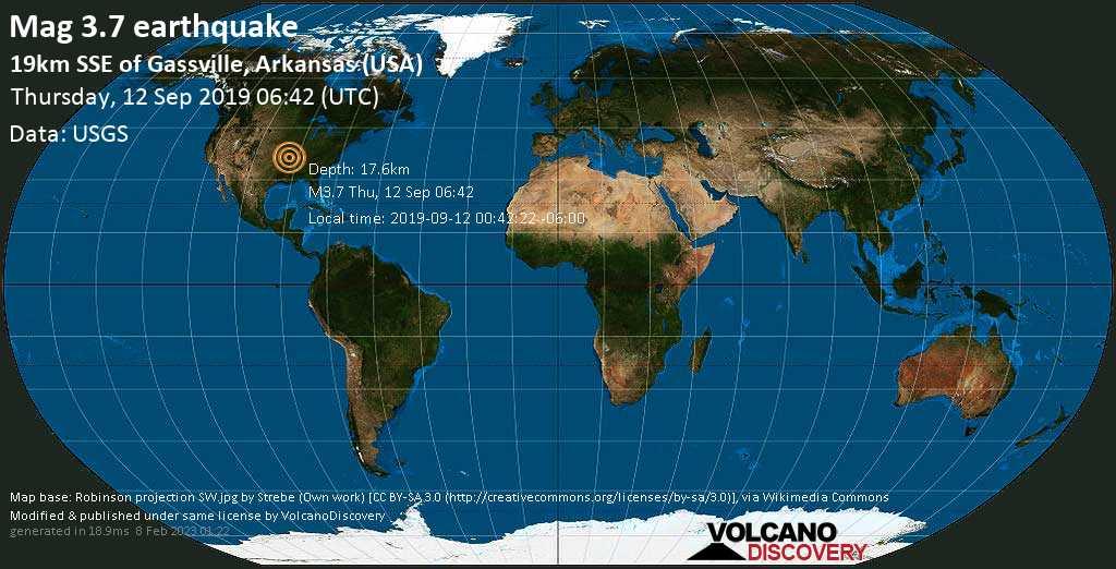 Minor mag. 3.7 earthquake  - 19km SSE of Gassville, Arkansas (USA) on Thursday, 12 September 2019