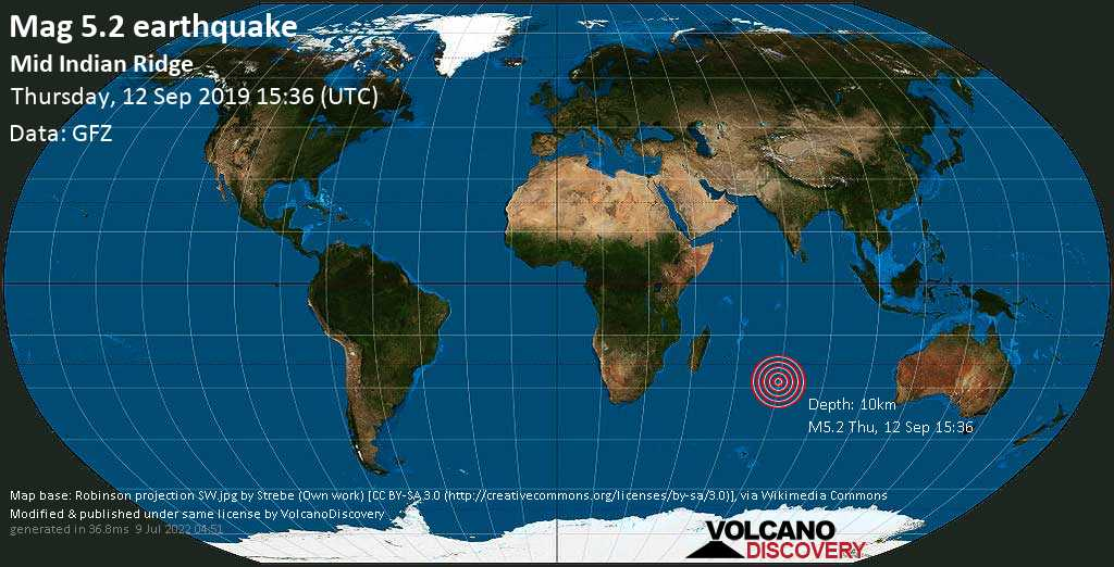 Moderate mag. 5.2 earthquake  - Mid Indian Ridge on Thursday, 12 September 2019